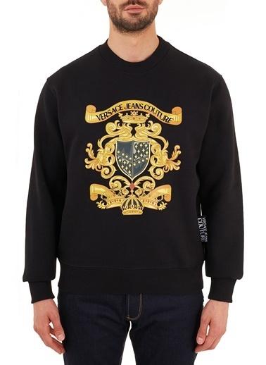 Versace Jeans  Baskılı Pamuklu Bisiklet Yaka Sweat Erkek Sweat B7Gzb7Ec 30406 K42 Siyah